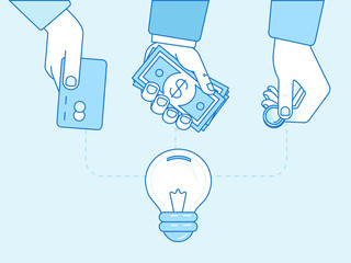 Vector crowdfunding concept in flat style - new business model