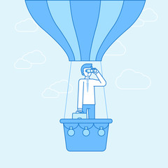 ector illustration in flat linear style and blue color  - idea concept