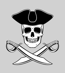 skull in tricorn with crossed broadswords