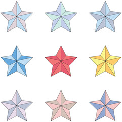 Set of star shapes with different color. Vector illustration