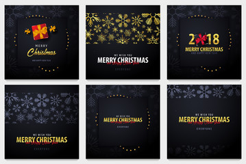 Set of Marry Christmas and Happy New Year banner on dark background with snowflakes and gift boxes. Vector illustration.