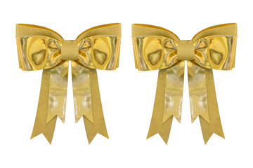 Golden bow decoration isolated on white background.