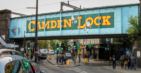 CAMDEN TOWN, LONDON, UNITED KINGDOM - 2017: Road Sign to the World Famous Camden Market Wall mural