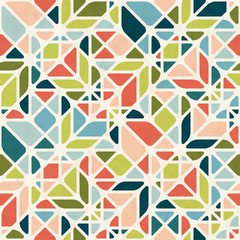 Abstract geometric seamless pattern in mid-century modern colors, vector illustration with texture