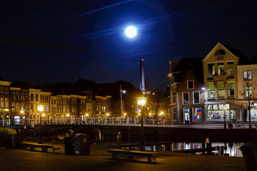 Big moon over the Leiden, Netherlands