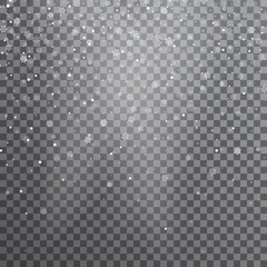 Snow. Vector transparent realistic snow background. Christmas and New Year decoration. Snow blizzard snowstorm background