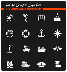 harbor white icon set