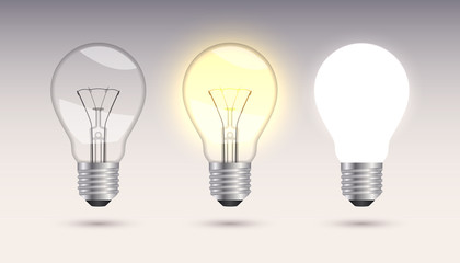 Three incandescent lamps.