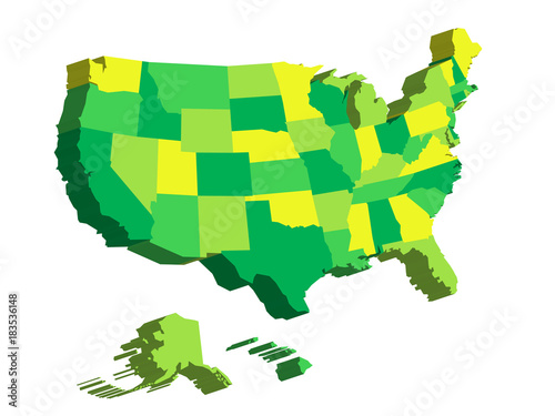 Map Of America 3d Vector.3d Map Of United States Of America Usa Divided Into Federal States
