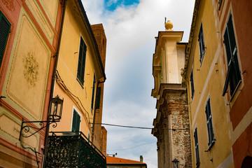 Italian medieval houses and a church