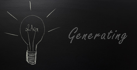 Generating ideas. Bulb and handwritten text on blackboard
