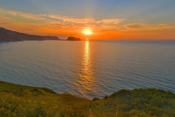 Ocean sunset panorama, Zarautz, Spain