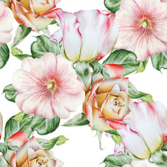 Bright seamless pattern with flowers. Rose. Mallow.   Watercolor illustration. Hand drawn.