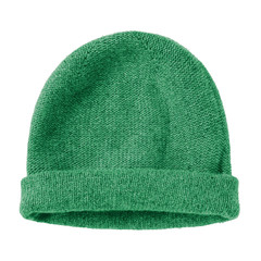 Bottle green worm winter woolen hat cap flat isolated on white