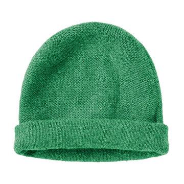 Bottle green worm winter woolen hat cap flat isolated on white