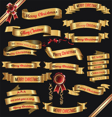 Golden ribbon banners Merry Christmas vector illustration collection
