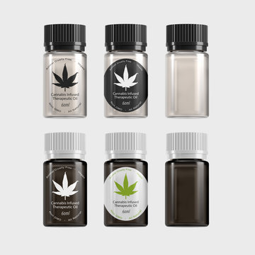 Medical Marijuana Extract Concentrate Therapeutic Oil Bottle - Isolated