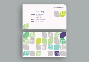 Colorful Leaves Business Card Layout