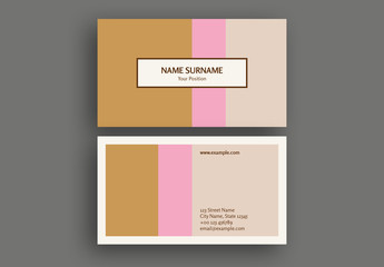 Pink and Brown Color Bar Business Card