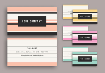 Colorful Stripes Business Card Set