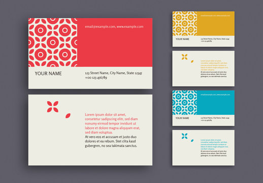 Patterned Business Card in 3 Color Palettes