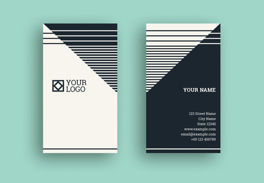 Black and White Stripe Business Card with Diagonal Elements