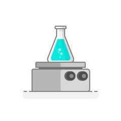 Scientific Heating Plate - Laboratory glassware icon 23. Flat design concept. Vector illustration.
