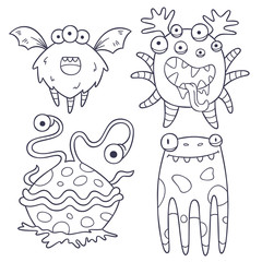 4 funny monster doodles (outlines)