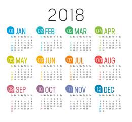 Year 2018 calendar vector template