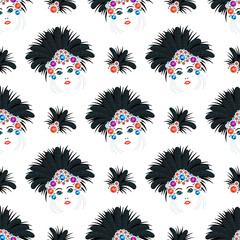 Carnival Italy and Brazil masks celebration festive carnaval masquerade seamless pattern background festival vector illustration.