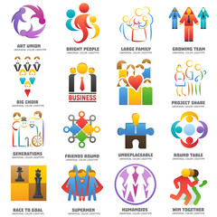 People team logo vector abstract group set teamwork union business logotype network teammate partnership illustration isolated on white background