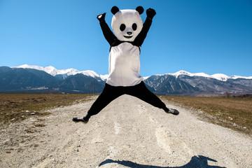 Man in a panda costume jumping on road. Bulgaria, Bansko - 2015.