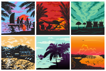Sunset silhouette set vector sunrise Hawaii palms wave and sun tropical card logo badge summer vacation concept illustration