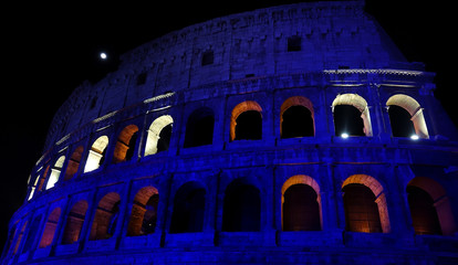 The Colosseum is lit up in Finland's blue and white colours to celebrate Finland's 100 years of independence anniversary, in Rome, Italy