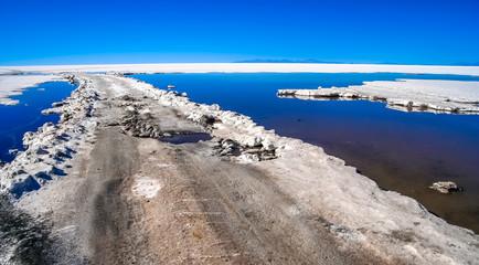 Road through the Salar de Uyuni in Bolivia