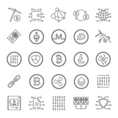 Cryptocurrency linear icons set