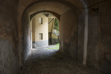 Printed roller blinds Narrow alley Impressionen aus dem Ort Torre Pellice, Piemont