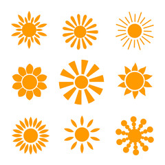 Yellow sun icon set isolated on white background. Modern simple flat sunlight, sign. Trendy vector summer symbol for website design, mobile app.