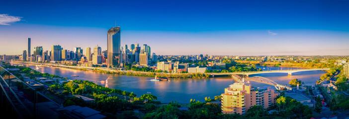 Brisbane city skyline mid afternoon