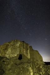 Night Photography with ruins in the Natural Area of Barruecos. Extremadura. Spain.