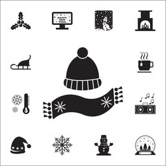 hat with pompon and scarf icon. Set of elements Christmas Holiday or New Year icons. Winter time premium quality graphic design collection icons for websites, web design, mobile