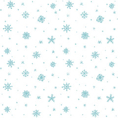 Seamless pattern hand drawn white snow flakes on white, simple winter background. design for holiday greeting cards and invitations of the Merry Christmas and Happy New Year, winter holidays