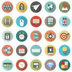 Modern flat icons vector collection with long shadow effect in stylish colors of web design objects. Icons for  business, office and marketing items.