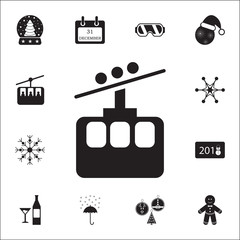 Ski cable lift icon for ski and winter sports icon. Set of elements Christmas Holiday or New Year icons. Winter time premium quality graphic design collection icons for websites