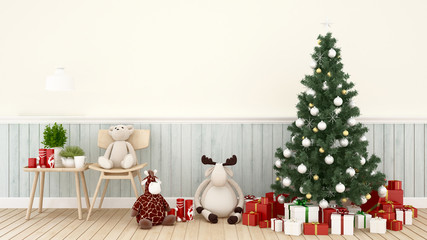 animal doll with christmas tree and gift box in living room -  artwork for Christmas day or happy new year- 3D Rendering