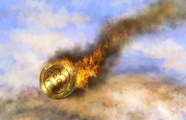 Bitcoin, fire, a fall, a crisis, a collapse. Oil  digital paintings. Fine art.