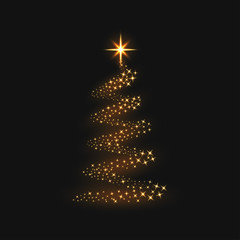 Christmas tree with golden magical sparkles. Shiny christmas tree with star and light trail