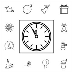 O'clock, Happy New Year! line icon. Set of Christmas and New Year icons. Signs, outline symbols collection, simple thin line icons for websites, web design, mobile app