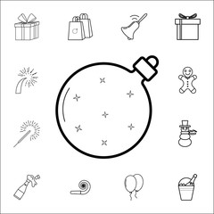 Premium Christmas ball line icon. Set of Christmas and New Year icons. Signs, outline symbols collection, simple thin line icons for websites, web design, mobile app