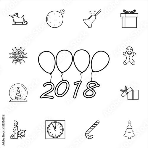 christmas, new year ballon 2018 line icon  Set of Christmas